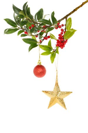 A berry laden holly bough decorated with a Christmas star and bauble Stock Photo - 23368345