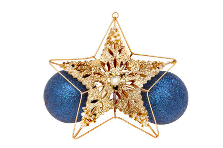 jeweled: Christmas decoration, gold, glitter and jeweled star and blue baubles isolated against white Stock Photo