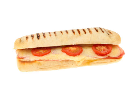 panini: Melted cheese ham and tomato panini isolated against white