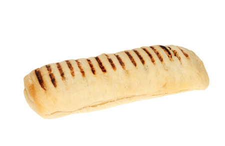 Panini bread roll isolated against white