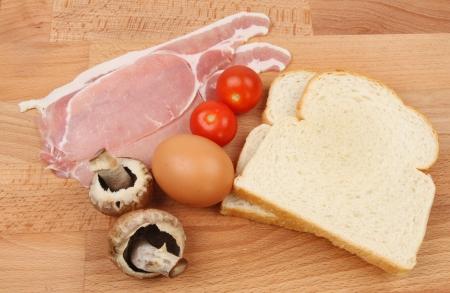 worktop: Breakfast ingredients on a wooden worktop Stock Photo