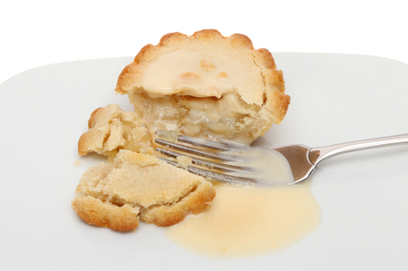 Individual apple pie with custard and a fork on a plate photo