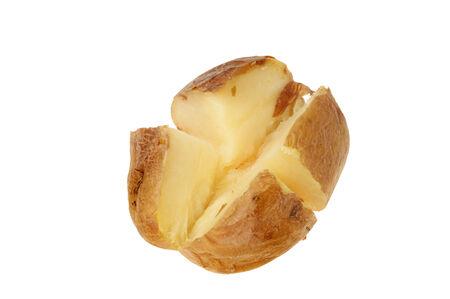 quartered: Plain baked jacket potato cut into quarters isolated against white
