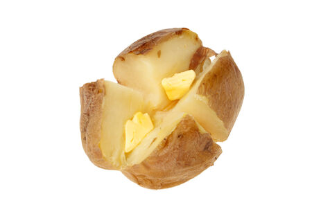 Baked potato with butter isolated against white photo