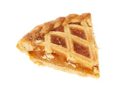 treacle: Slice of treacle tart isolated against white Stock Photo