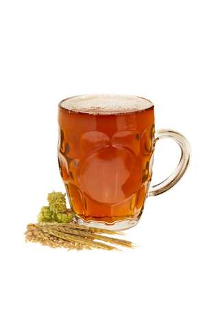 real ale: Pint of real ale with brewing ingredients isolated against white Stock Photo