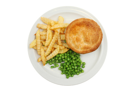 crinkle: Pie crinkle cut potato chips and peas on a plate isolated against white