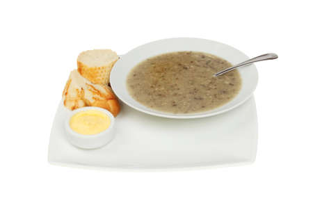 crust crusty: Mushroom soup with crusty bread and butter on a plate isolated against white