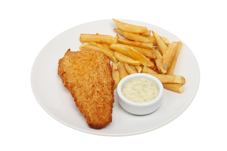 battered fish with chips and tartar sauce on a plate isolated against white
