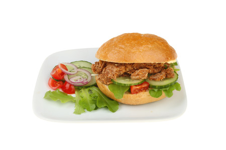 bread roll: Bread roll filled with pulled pork, salad with a salad garnish on a plate isolated against white