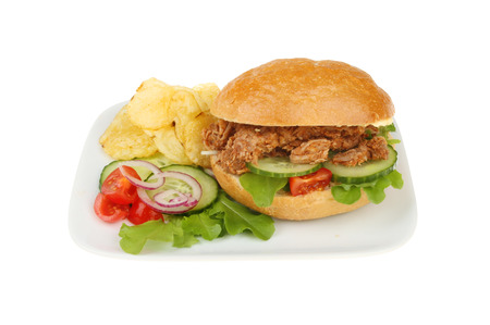 potato crisps: Pulled pork bread roll with salad and potato crisps on a plate isolated against white