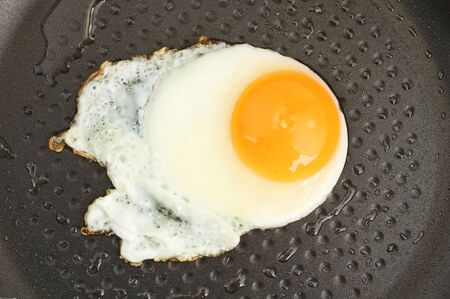 non stick: Fried egg in a non stick frying pan