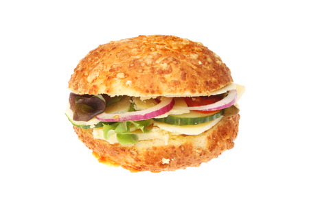 bread roll: Cheese and salad bread roll isolated against white
