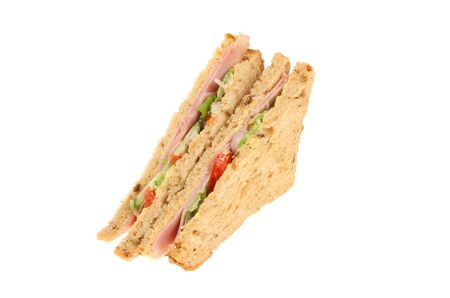 multi grain sandwich: Ham salad sandwich made with multi grain bread isolated against white