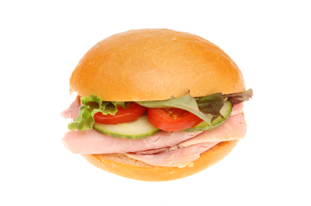crust crusty: Freshly made ham salad crusty bread roll isolated against white