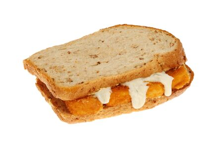 multi grain sandwich: Fish finger sandwich made with multi grain brown bread with tartar sauce isolated against white