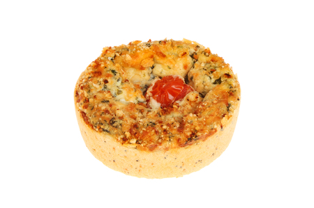 and savory: Quiche, savory tart, isolated against white Stock Photo