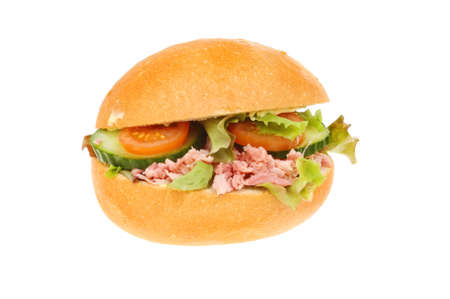 pulled: Pulled pork hock and salad in a crusty bread roll isolated against white Stock Photo