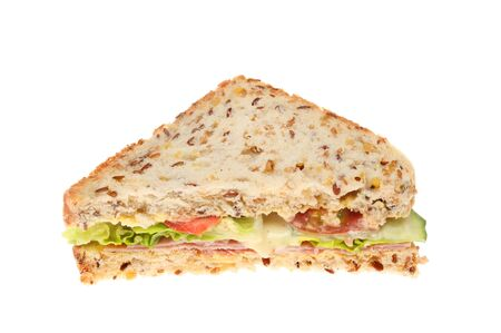 linseed: Ham and salad sandwich made with soya and linseed bread isolated against white