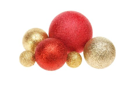 group of christmas baubles: Group of red and gold glitter Christmas baubles isolated against white