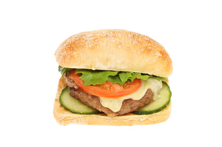 ciabatta: Cheeseburger with salad in a ciabatta roll isolated against white