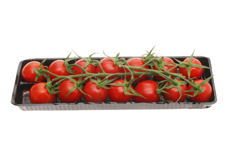 ripened: Vine ripened plum tomatoes in a plastic carton isolated against white