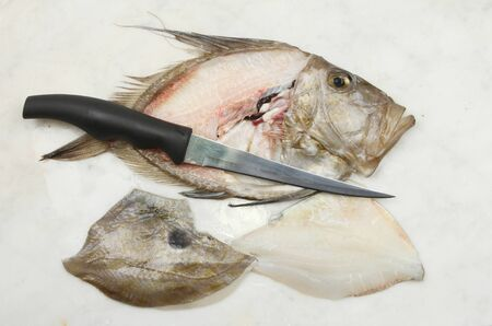 filleting: Filleted John Dory fish with a filleting knife on a marble slab