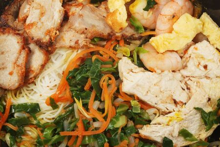Closeup of Chinese dish, Singapore noodles