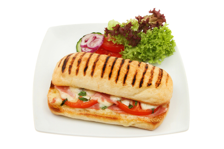 Cheese, ham, tomato and basil Panini with salad garnish on a plate isolated against white