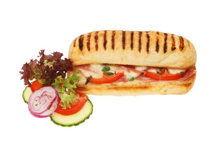 Cheese, ham, tomato and basil Panini with salad garnish isolated against white