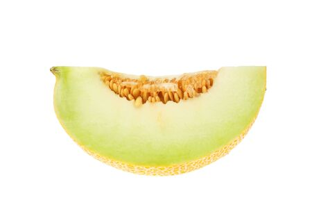 Section of a galia melon isolated against white