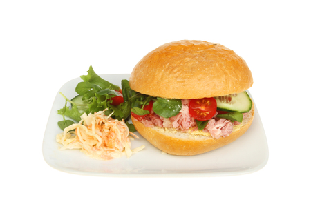 Pulled pork and salad in a crusty bread roll with garnish on a plate isolated against white