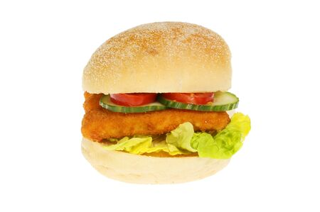Fish fingers with salad in a bread roll isolated against white