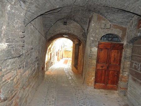 Typical alley in Spello, Umbria (Italy)