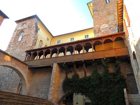 Logge Palazzo Urbani in Spello, Umbria (Italy) Stock Photo
