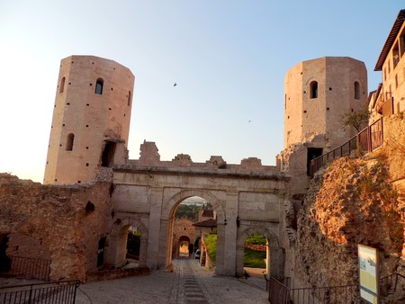 View of Porta Venere and Towers of Properzio in Spello, Umbria (Italy)