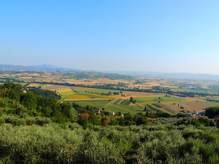 Landscape of Umbrian countryside from Bettona, Italy.