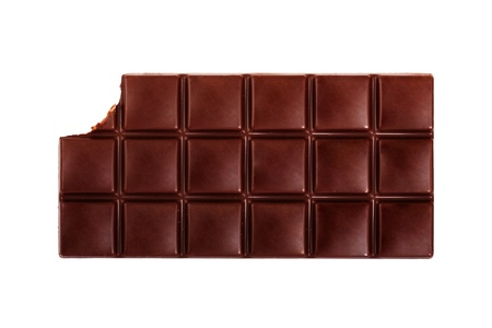 Dark chocolate bar isolated on white background photo