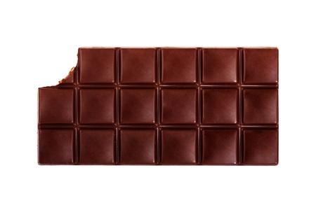 Dark chocolate bar isolated on white background