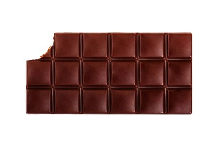 missing bite: Dark chocolate bar isolated on white background