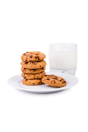 Chocolate chip cookies and milk isolated on white background