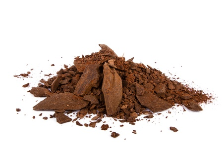 Heap of cocoa powder isolated on the white background