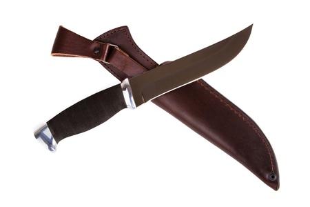 scheide: New Jagdmesser mit Scheide auf wei�em Hintergrund