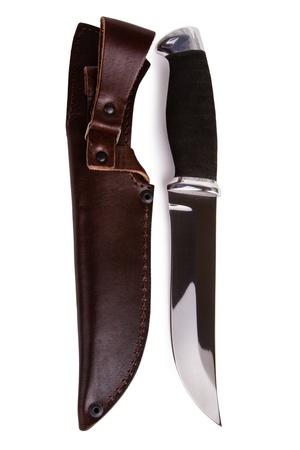 scheide: New Jagdmesser mit Scheide auf wei?em Hintergrund