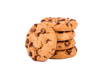chocolate chip cookie: Chocolate chip cookies isolated on white background