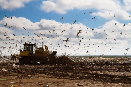 Shot of bulldozers working a landfill site