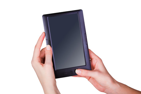 communicator: Female hands holding a tablet touch computer gadget