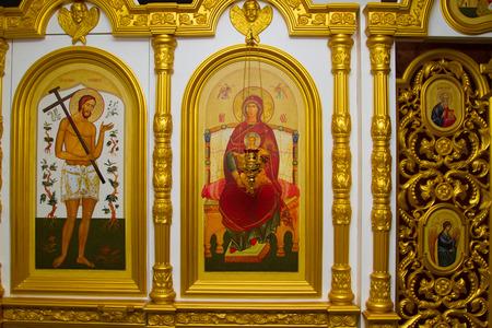 The iconostasis in the Orthodox Church. Stock Photo