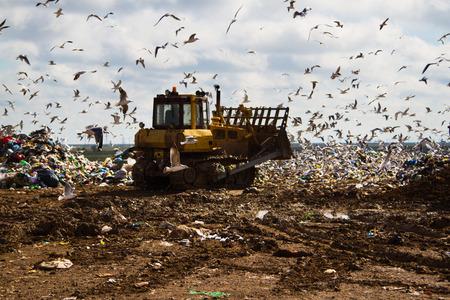 landfill site: Colpo di bulldozer che lavorano una discarica