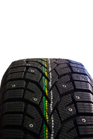 winter tires: New modern studded winter tires, isolated on white background